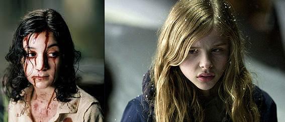 """Las actrices protagonistas de las versiones de """"Déjame entrar"""": Lina Leandersson (la del original, a la izquierda) y Chloe Moretz (la del remake, a la derecha)"""