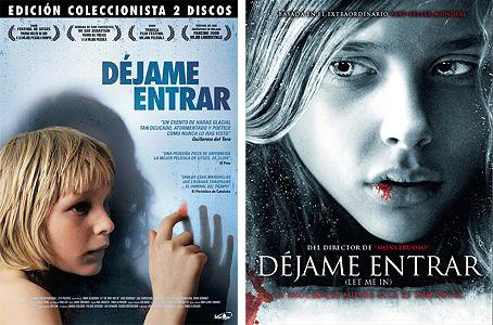 """Pósters de """"Déjame entrar"""". De la versión original (izquierda) y del remake norteamericano (derecha)"""