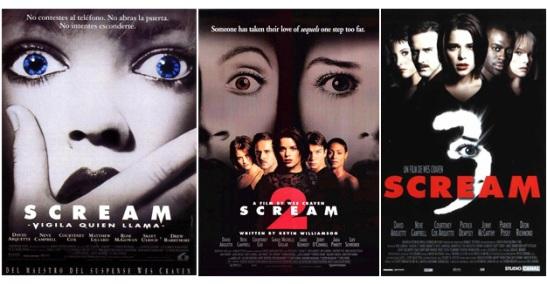 Carteles de la trilogía de Scream. Como se puede apreciar a través de ellos se repiten numerosos personajes y actores en las sucesivas películas