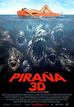 """Cartel-Póster de """"Piraña 3D"""". El cuerpo perfecto amenazado por las pirañas bajo la superficie"""