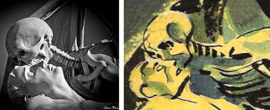 """Comparativa entre la imagen de la escultura """"El beso de la muerte""""y la versión gráfica del cómic """"Máxima discreción"""""""