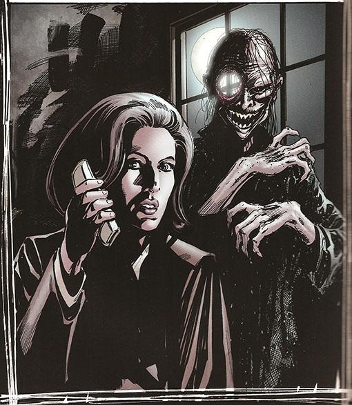 Scully amenazada por un vampiro típico de los cómics de Steve Niles
