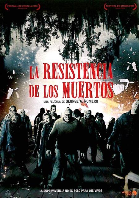 """Cartel póster en español castellano de """"La resistencia de los muertos"""" de Romero"""