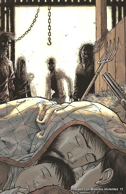 """Portada de """"The Walking Dead"""" número 11. La vulnerable familia amenazada por los zombis"""