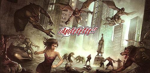 """Monstruos en pleno ataque. Imagen del cómic """"City of dust. Una historia de Philip Khrome"""""""