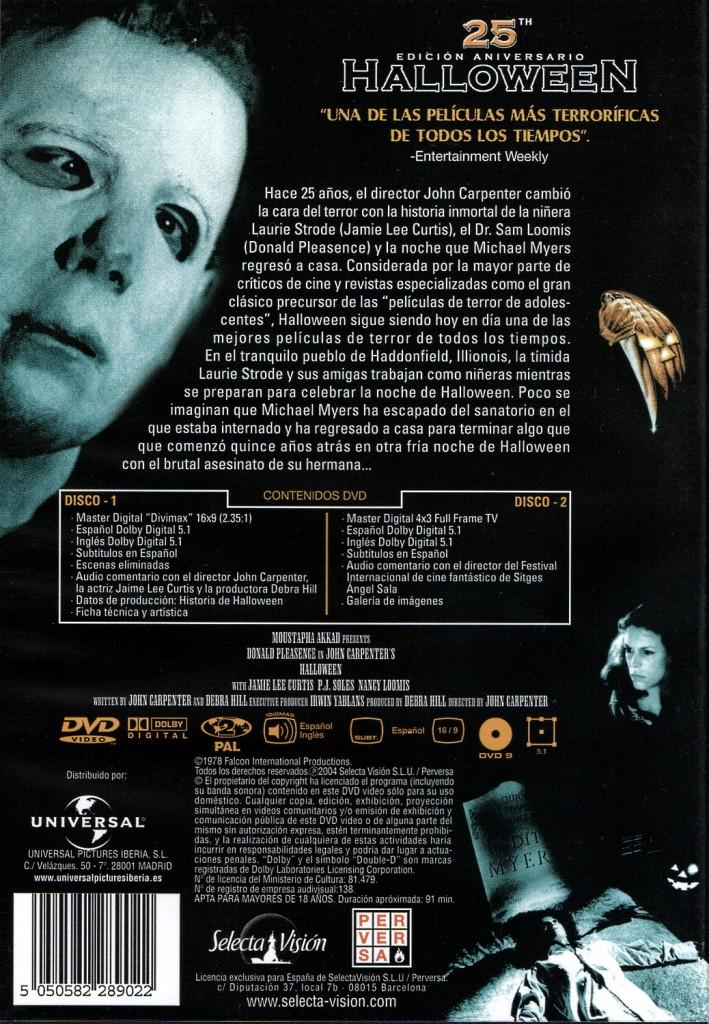 Contraportada de la edición 25 aniversario de Halloween en DVD
