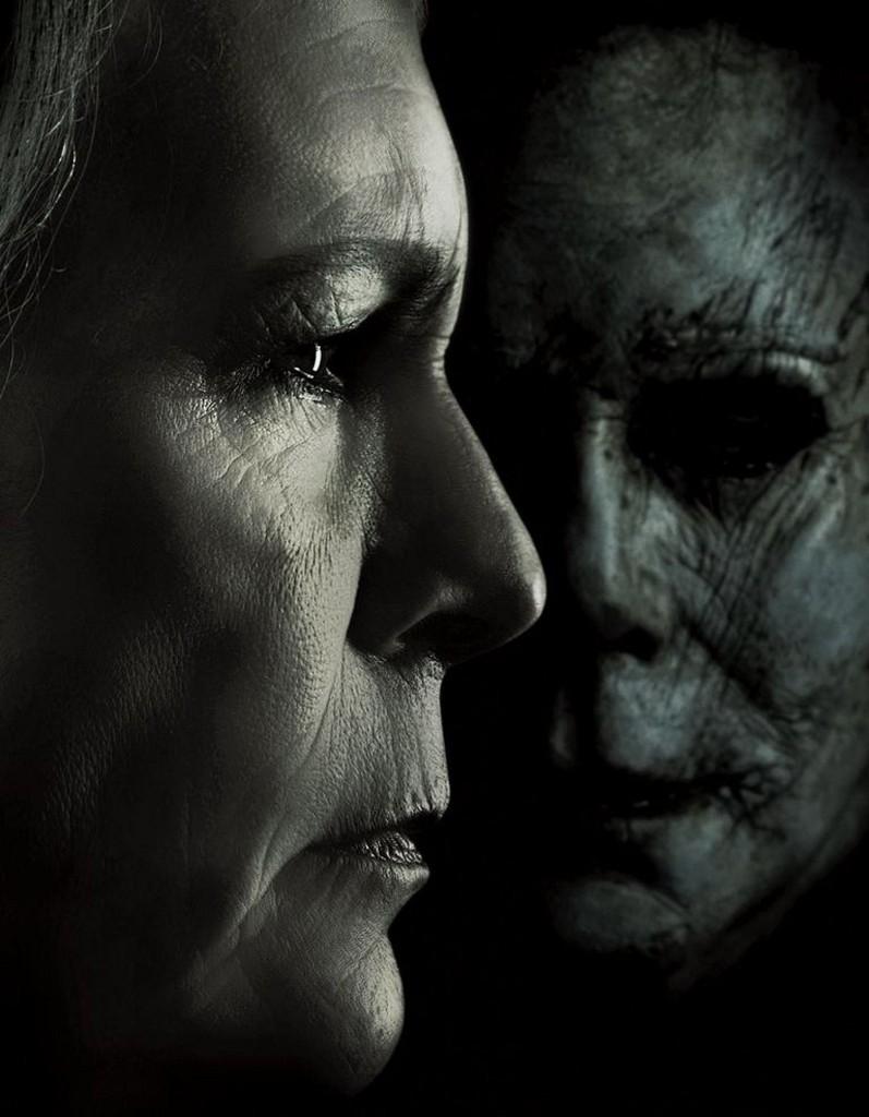 Jamie Lee Curtis y Michael Myers envejecidos en La Noche de Halloween (2018)