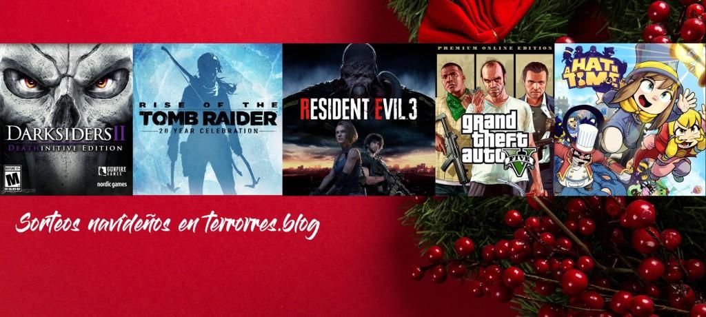 Sorteos navideños en terrores.blog | Sorteamos 5 juegos: Darksiders II D.E., Rise of the Tomb Raider 20 Year Celebration, Resident Evil 3 (2020), GTA V Premium Online Edition y A Hat in Time