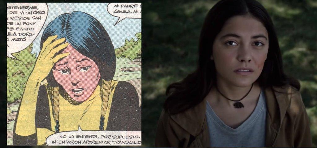 Gran parecido físico también entre Danielle en los cómics y la actriz que lo interpreta en la película de Los Nuevos Mutantes, Blu Hunt