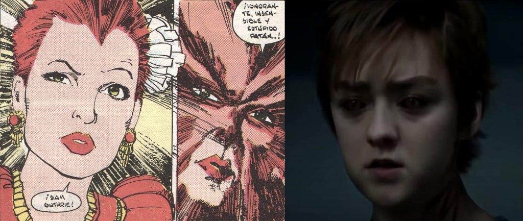 Loba Venenosa en los cómics interpretada por Maisie_Williams en la película Los Nuevos Mutantes. Parecidos físicos razonables e interpretación convincente