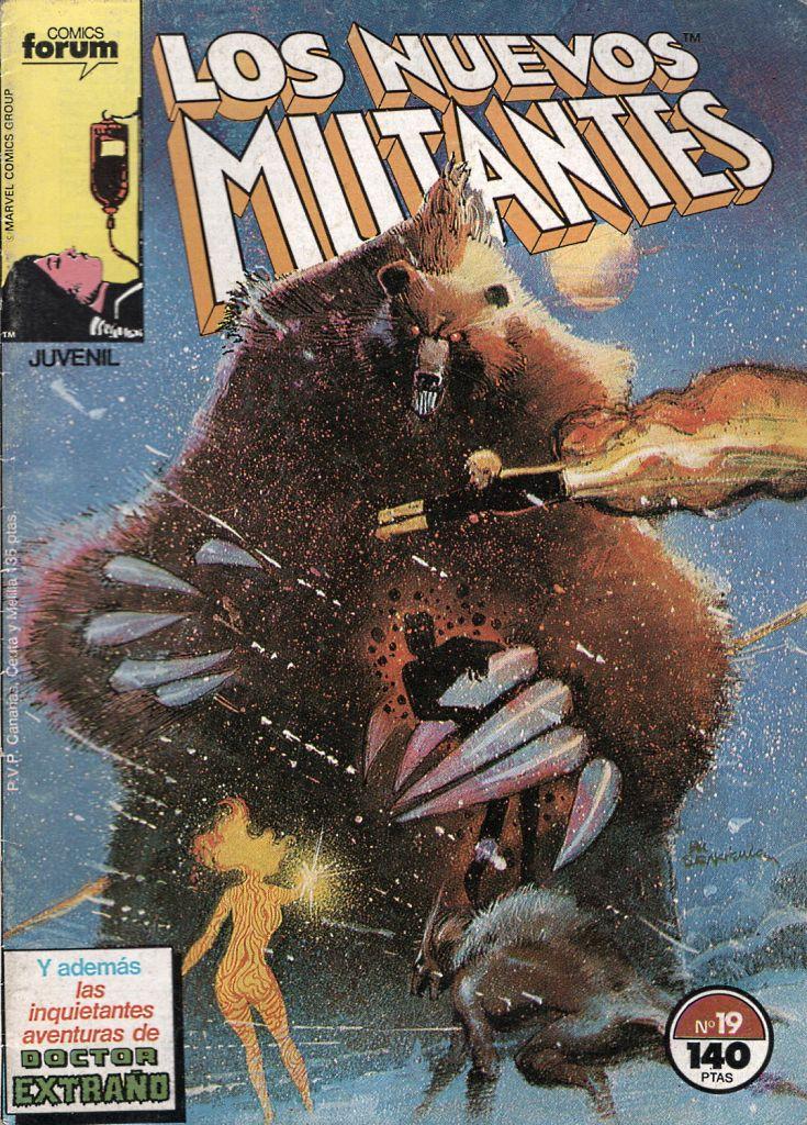 Portada del número 19 de la edición de Forum de Los Nuevos Mutantes. La película respeta mucho la versión de Sienkiewicz del oso demoníaco (demon bear)