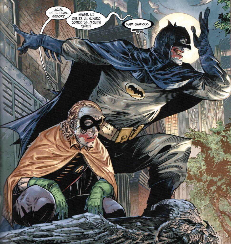 """Una de las imágenes de Philip Tan que se quedan """"grabadas en la retina"""": el Joker parodiando a Batman, con Robin incluido"""