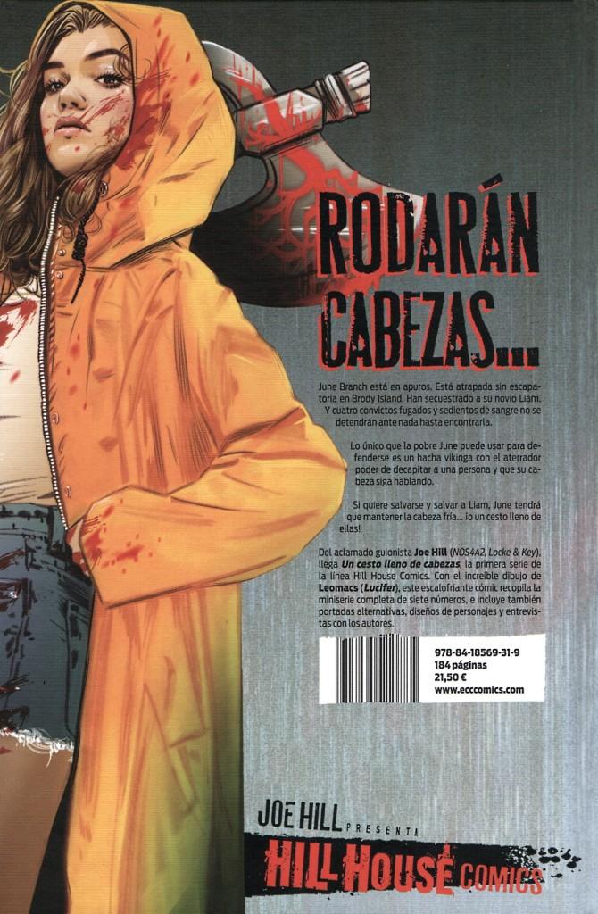 Contraportada de la edición española de Un cesto lleno de cadáveres