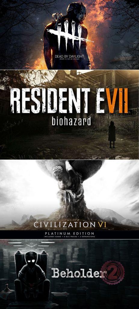 terrores.blog | Regalamos 4 juegos: Dead by Daylight, Resident Evil Biohazard, Civilization VI Platinum Edition y Beholder 2. Del 10 al 24 de junio de 2021