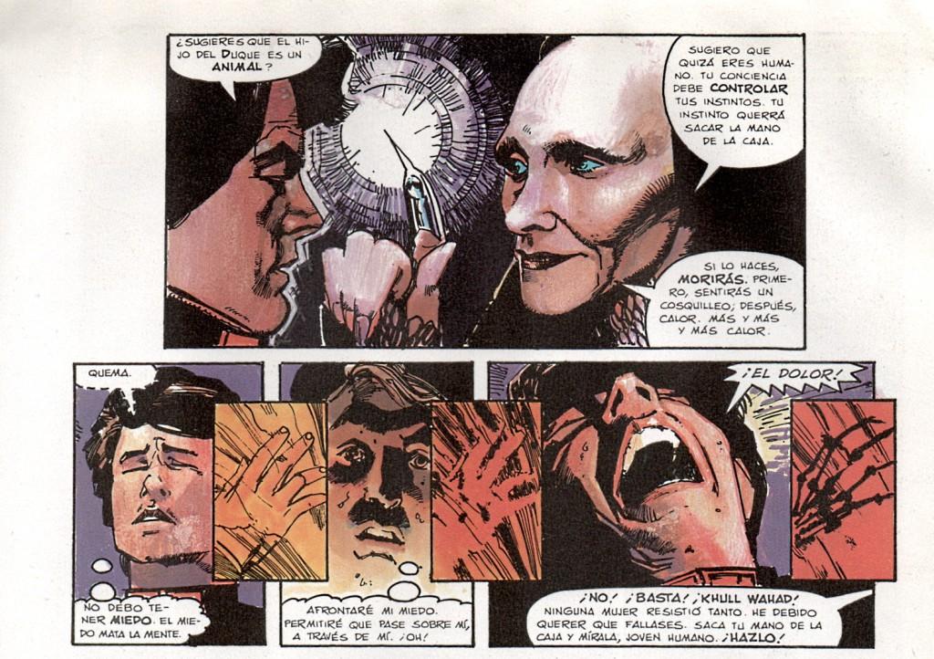 """Mítica escena de la novela gráfica """"Dune"""" (1985). Sienkiewicz opta por el expresionismo y la concentración en poco espacio de la escena"""