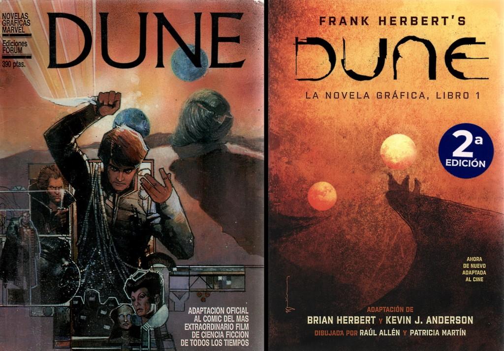 """Portadas de las novelas gráficas de """"Dune"""". A la izquierda la de 1985 y a la derecha la de 2021. Ambas obra de Bill Sienkiewicz"""
